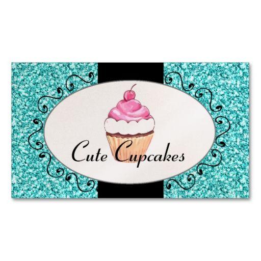 Aqua Glitter Cute Cupcake Bakery Business Card Zazzle Com