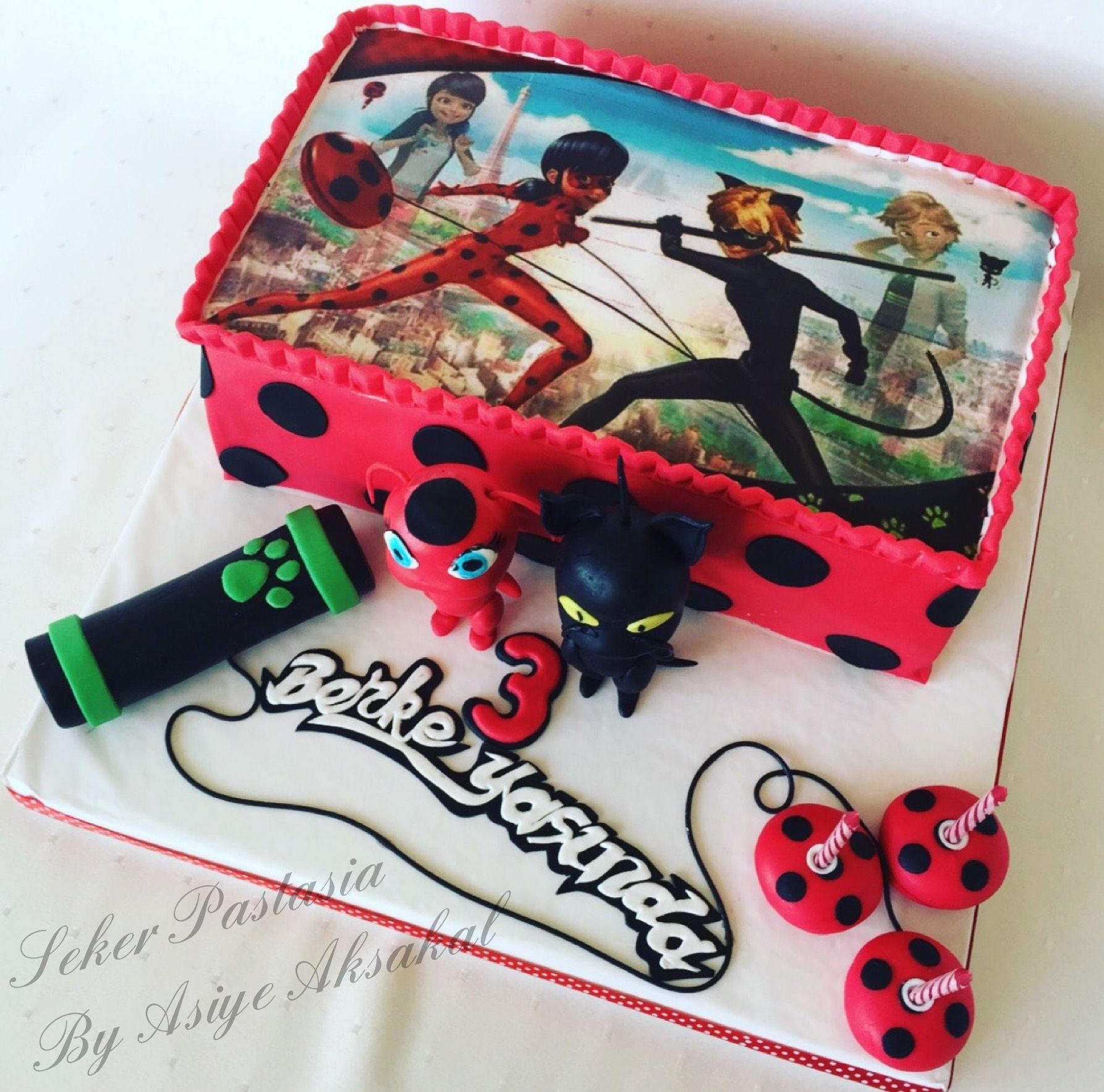 Berke Ladybug E Cat Noir Cake Mucize Ugur Bocegi Ve Karakedi Pastasi Ugur Bocegi Pasta Dogum Gunu Dogumgunu Pastalari