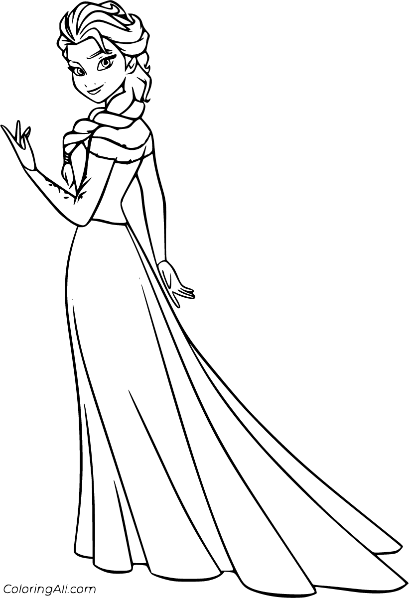 15 free printable Elsa coloring pages in vector format, easy to