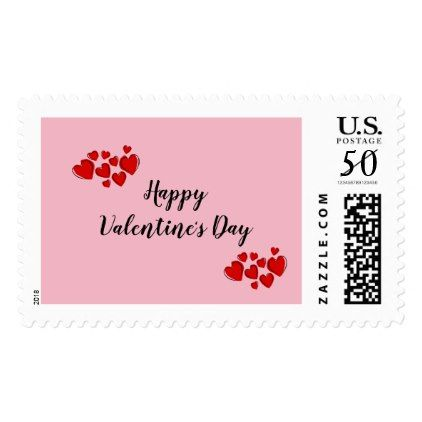 Pink Happy Valentine\'s Day with Red Hearts Postage - valentines ...