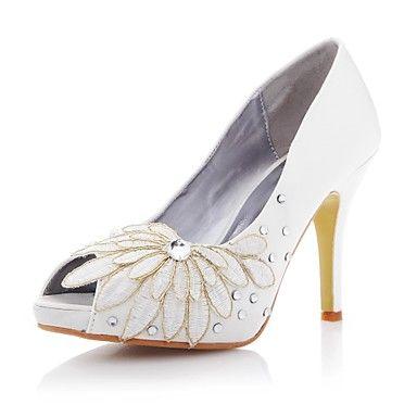Satin Women's Wedding Stiletto Heel Peep Toe Pumps/Heels with Rhinestone and Lace Shoes