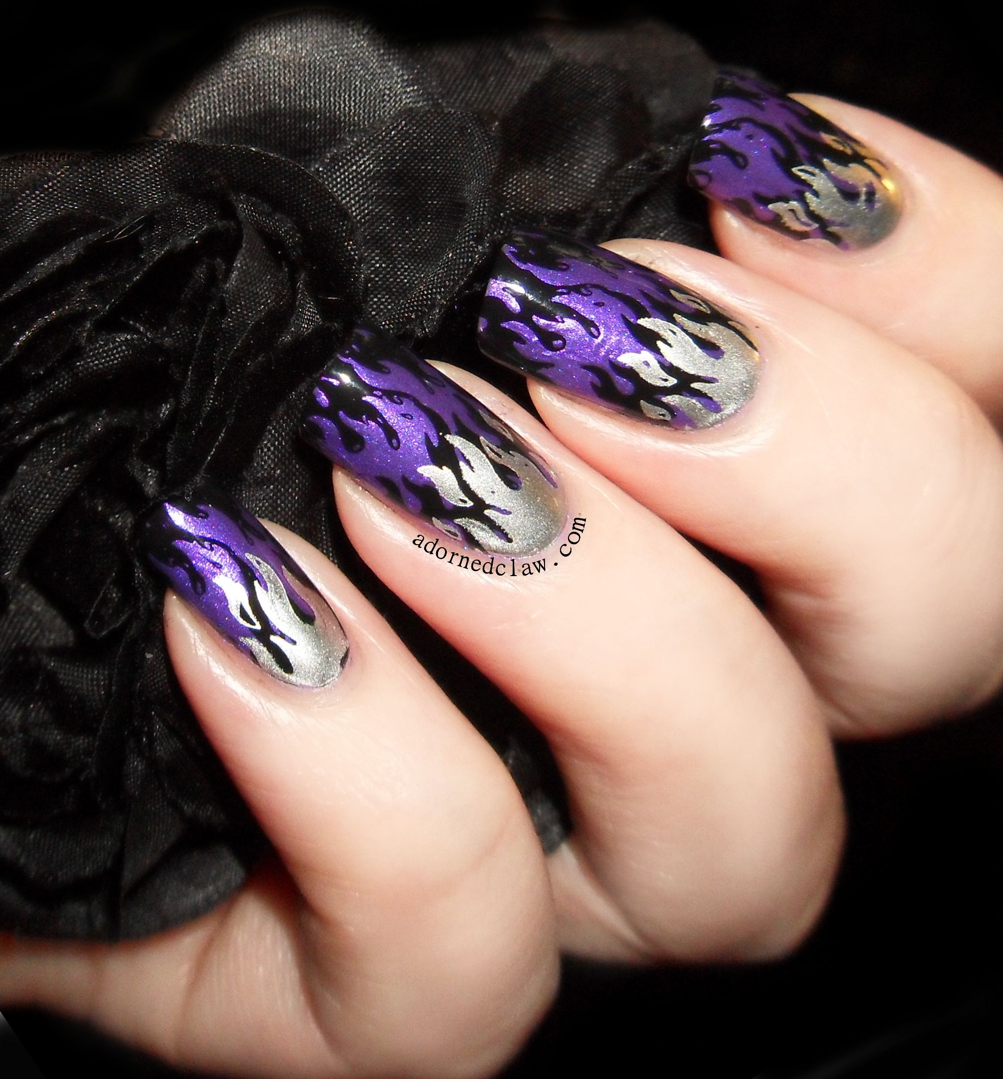 Purple Flames - Stamping Nail Art using Messy Mansion ...