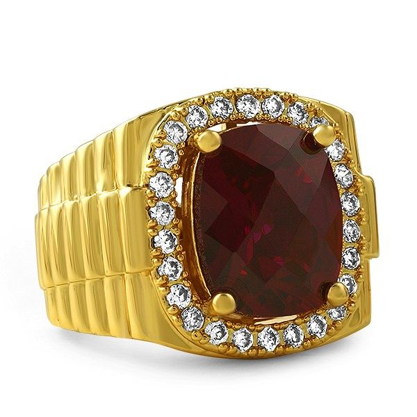Rick Ross Style Lab Ruby Boss Gold Ring Rick ross Bling bling and