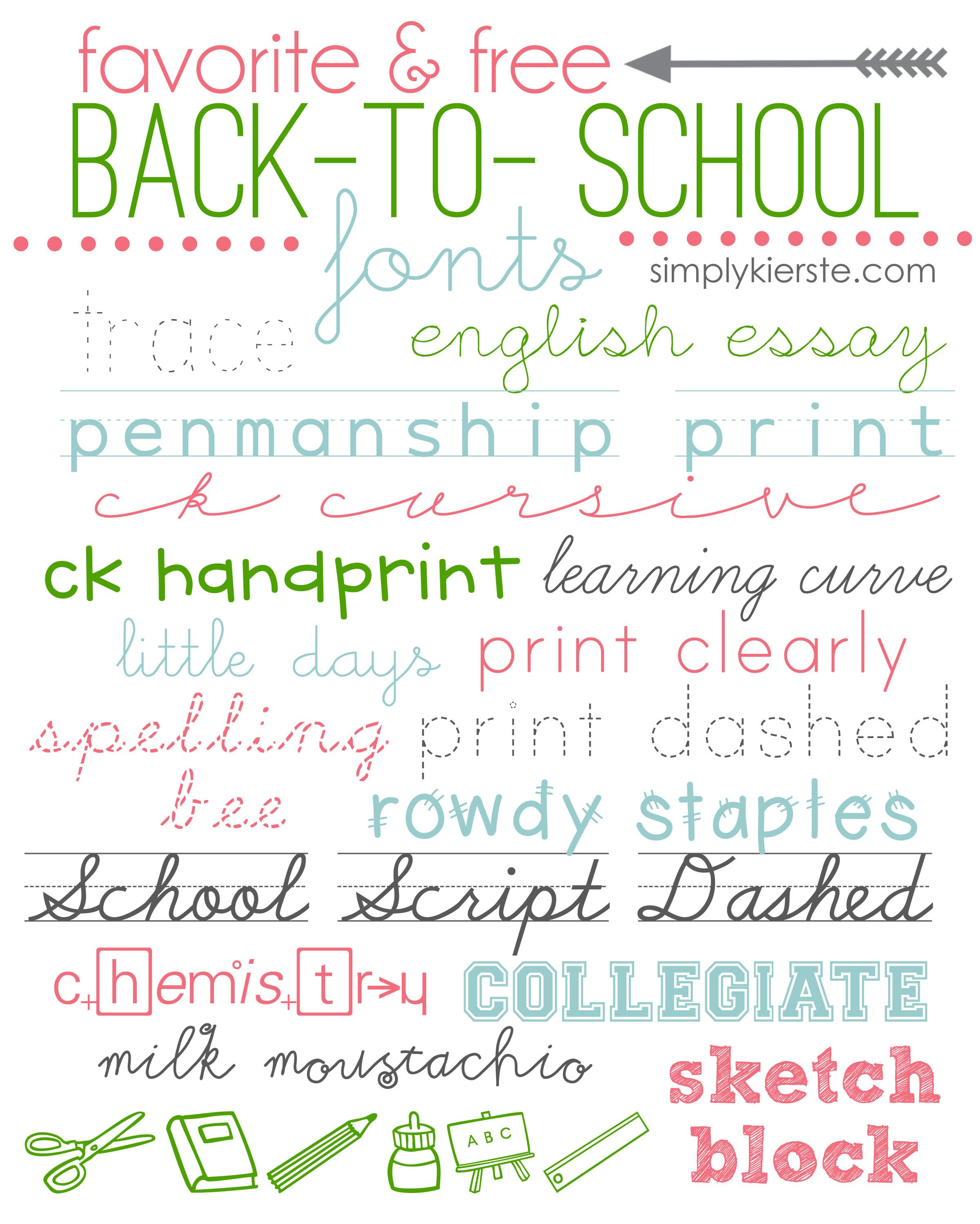 Favorite & Free Back-to-School Fonts   Back to School