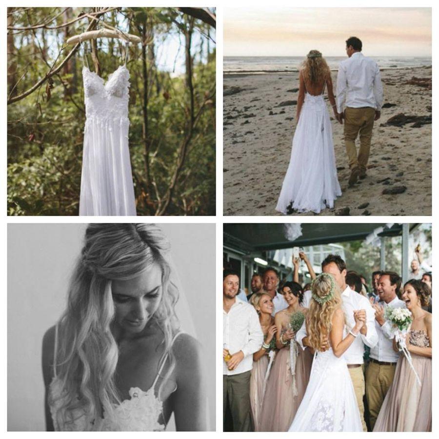 Boho beach bride in our Hollie dress www.graceloveslace.com