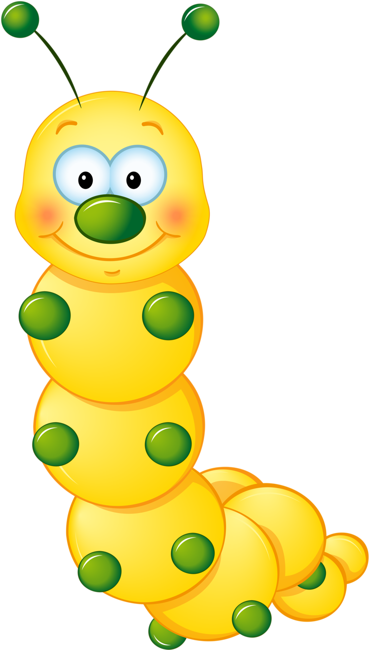 yellow cute caterpillar clipart