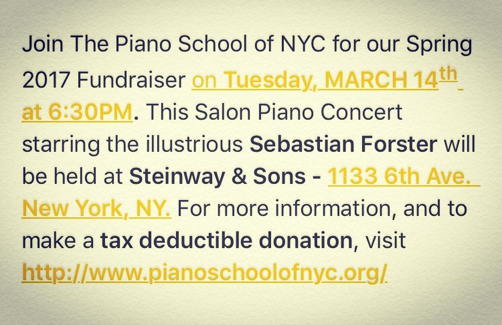 Three days left until our Spring Fundraiser on March 14th at Steinway Hall at 6:30! Get your (tax deductible) Tickets Now! pianoschoolofnyc.org  #piano #fundraiser #artsfunding #nonprofit #steinwaypiano #pianostudent #raisefunds #fundsforthearts #artsfunding