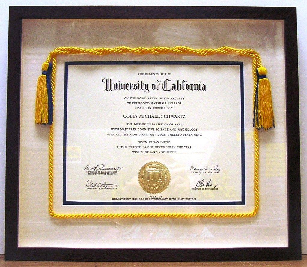 College Diploma With Cords Diploma Display Shadow Box Graduation Diploma Frame