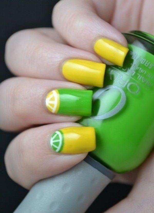 Lemon style nail art - Uñas estilo limon | Fruit Nail Art - Uñas de ...