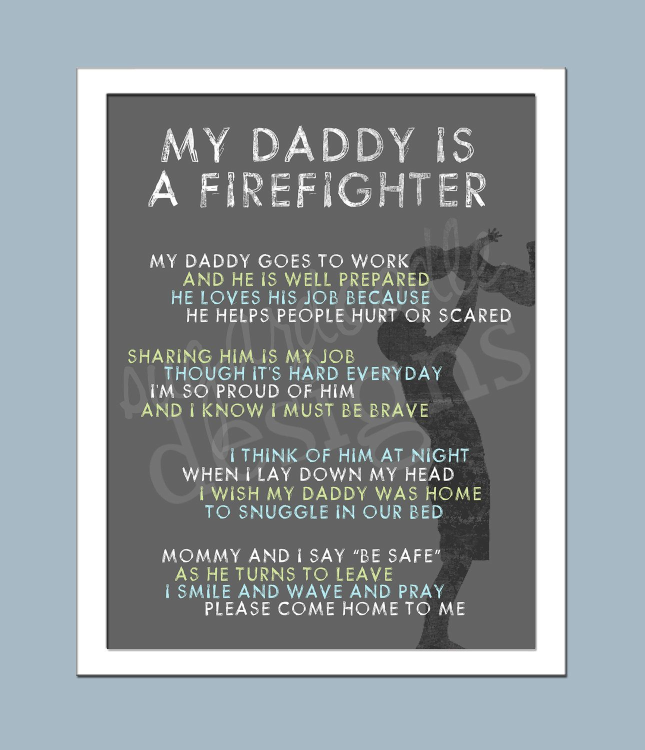 Firefighter My Hero My Dad Poem And
