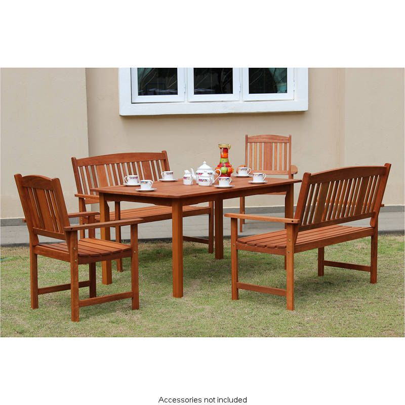 Jakarta Wooden Patio Set   Perfect For Relaxing In Your Garden   Solid Wood  Construction