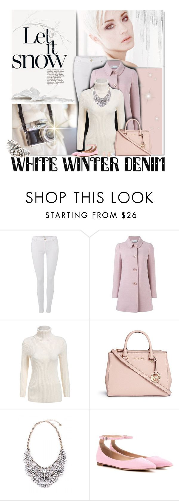 """""""On Trend: Winter White Denim"""" by cindycook10 ❤ liked on Polyvore featuring 7 For All Mankind, RED Valentino, Michael Kors, Gianvito Rossi, Kate Spade, women's clothing, women's fashion, women, female and woman"""