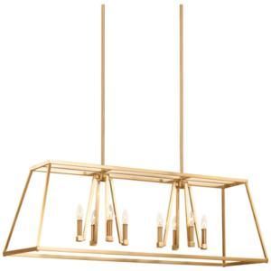 feiss conant 48 wide satin brass 8 light island chandelier dining