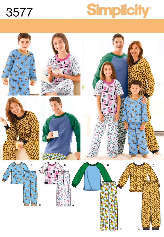 f7950dad0b Simplicity 3577 Miss Men Child Sleepwear - Unisex Child