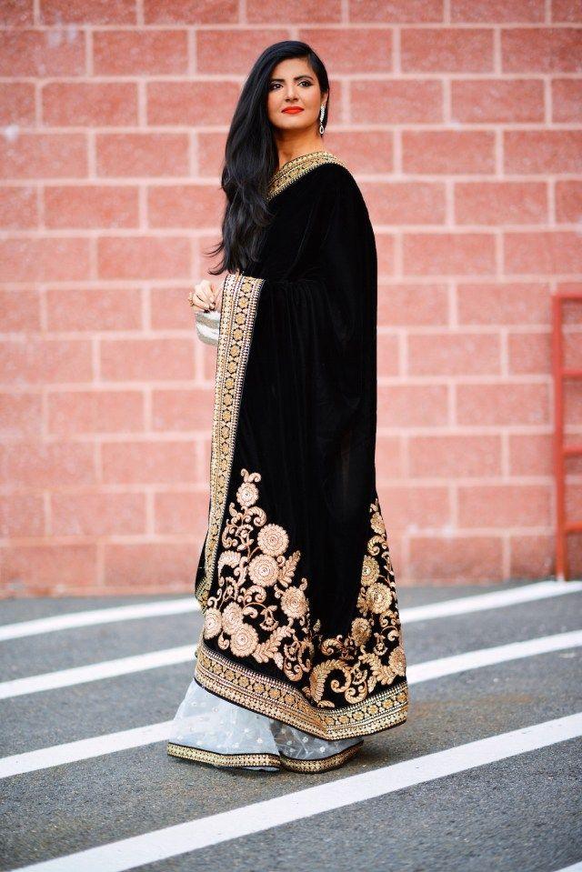 6eaa9777eb7ea0 Black Velvet saree   blouses   Velvet saree, Saree, Black velvet
