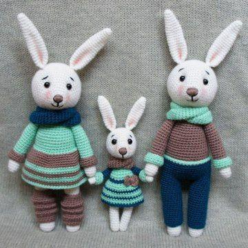 Bunny family crochet toys – free patterns | Häkeln, Hase und Spielzeug