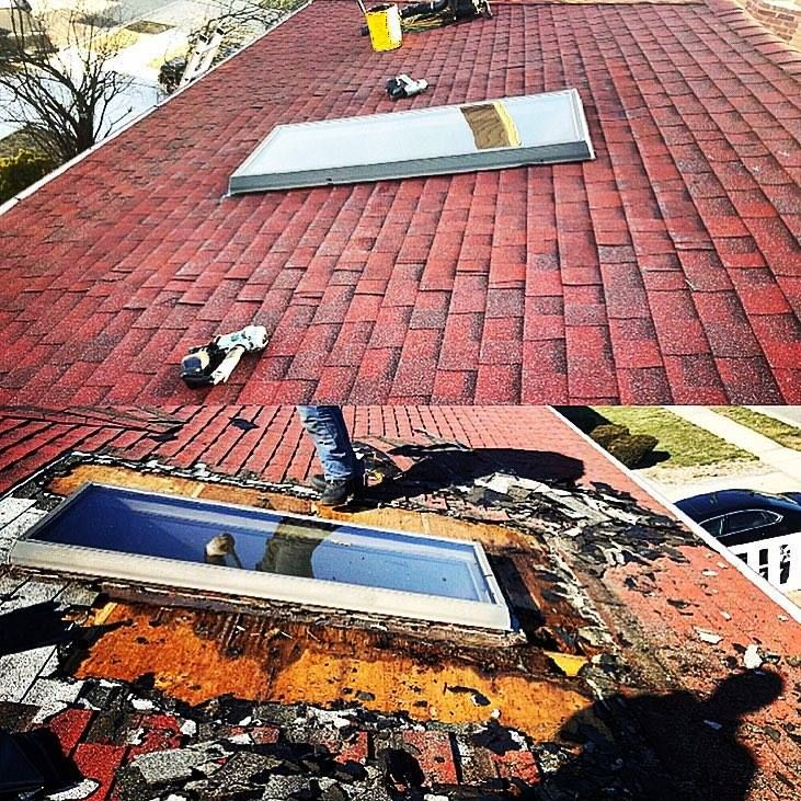 Best Skylight Leak Repair With Patriot Red Shingles From Gaf 400 x 300