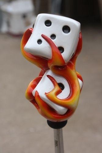 HouseOspeed - Hot Rod Shift Knob - Flaming Stacked Dice Shift Knob, $60.00 (http://www.hotrodshiftknob.com/flaming-stacked-dice-shift-knob/)