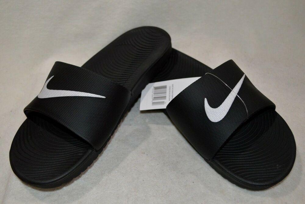 63110c40d Nike Men s Kawa Black White Slide Sandals-Size 7 8 9 10 11 12 13 NWB ...