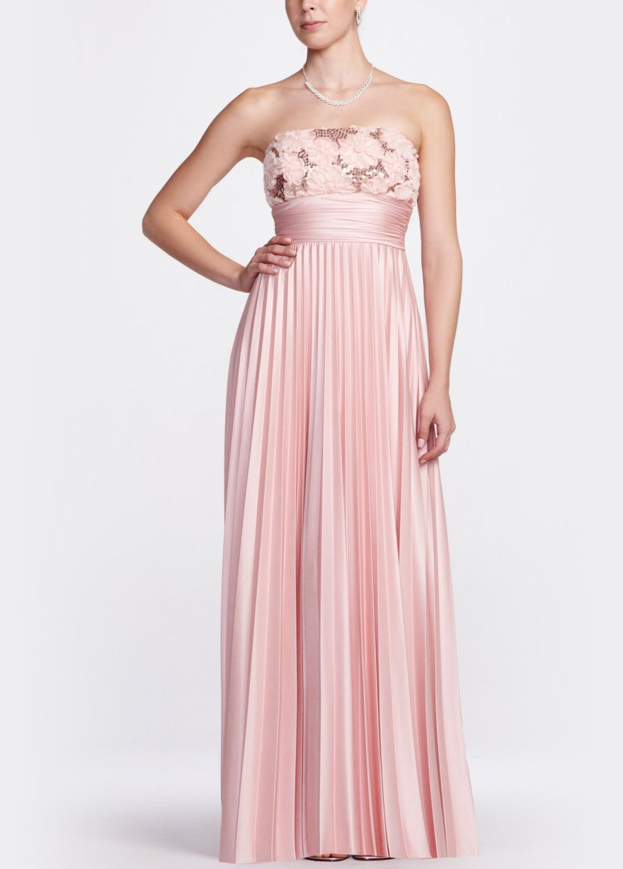 Strapless Long Sequin Pleated Gown - David\'s Bridal | Prom Dresses ...