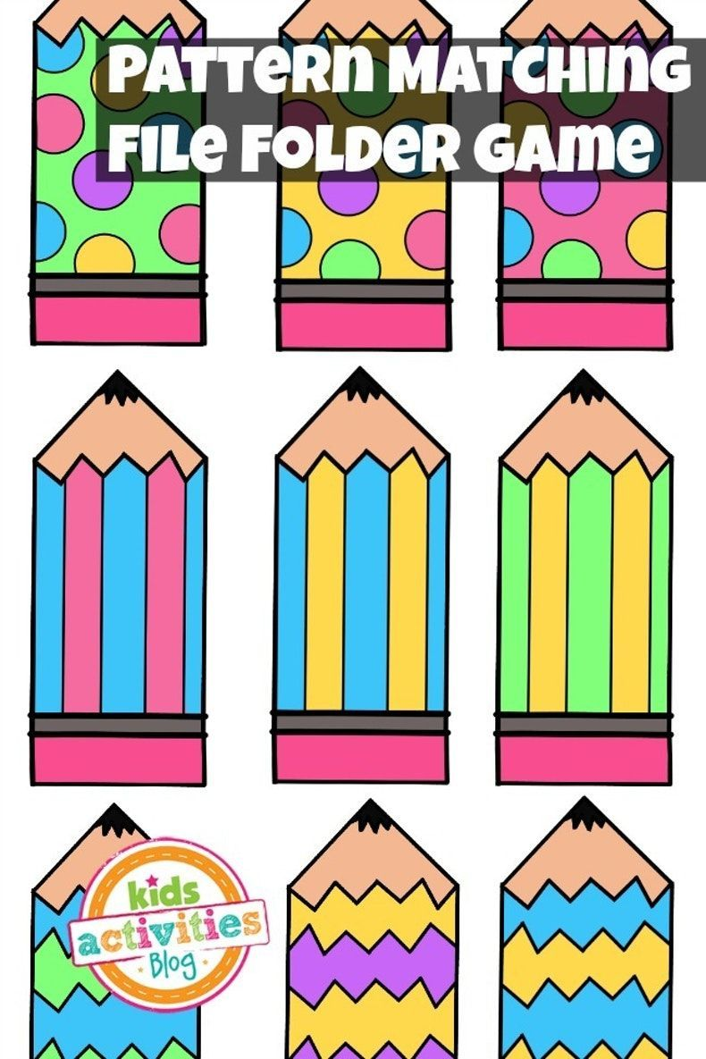 pattern matching free printable file folder game for preschoolers kids activities