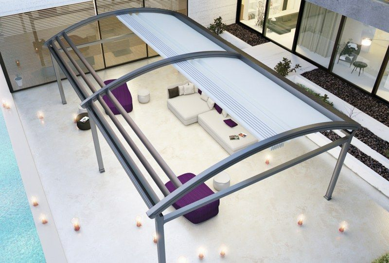terrassen berdachung aus aluminium mit w lbung wohnen pinterest terrasse berdachung. Black Bedroom Furniture Sets. Home Design Ideas