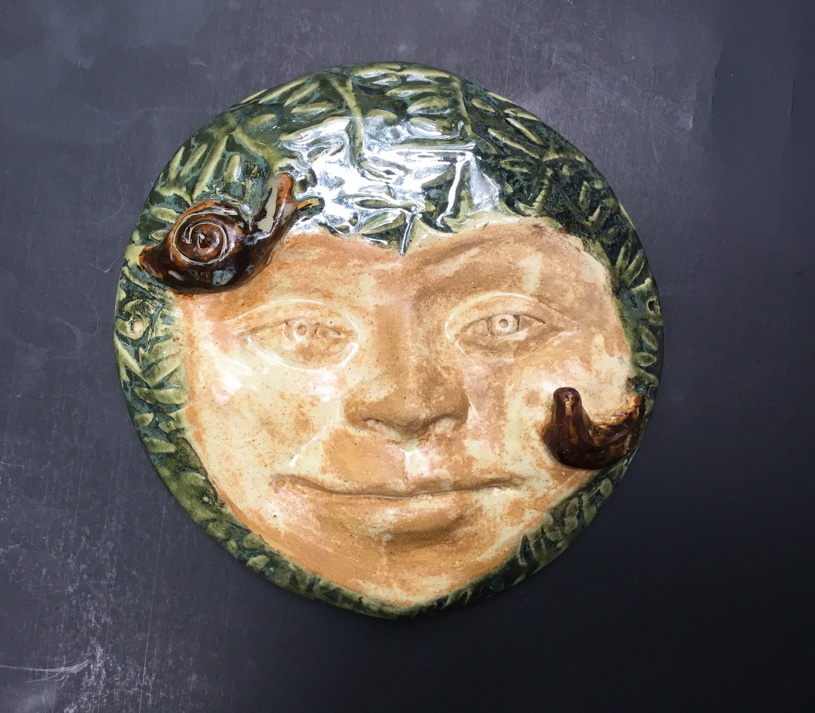 Ceramic garden mask, woman face mask with snail and bird  Wall mask, ceramic wall art, pottery mask, garden art, housewarming gift is part of Pottery garden Art - wallmaskfacesculpturethefaceofthe