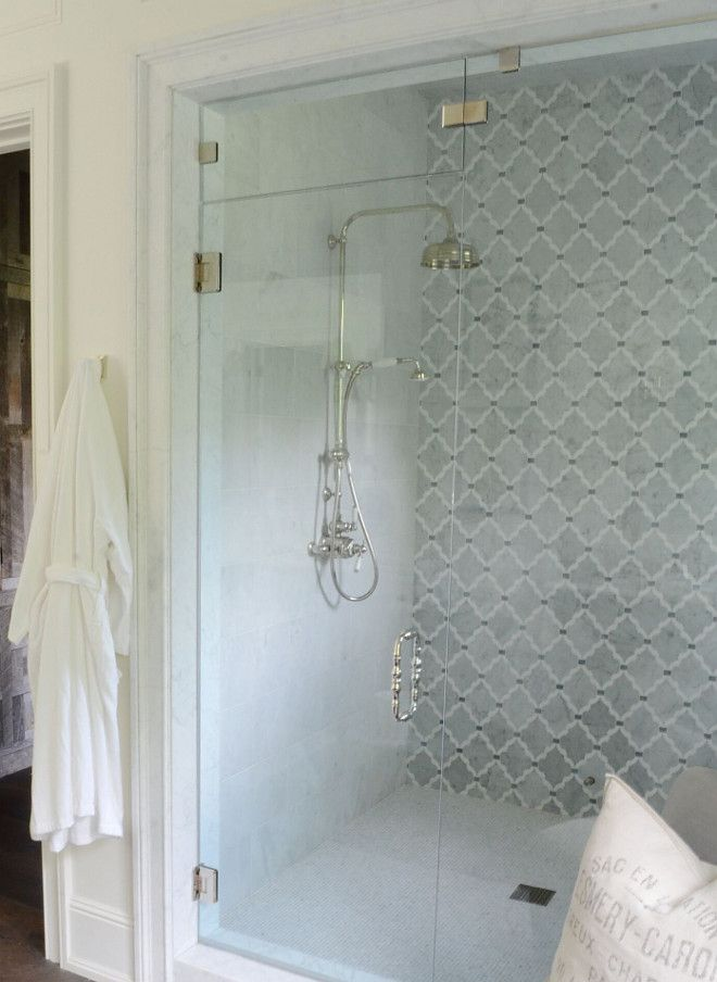 custom mosaic on back wall rectangular marble field tiles to walls in mosaic carrera marble on floor