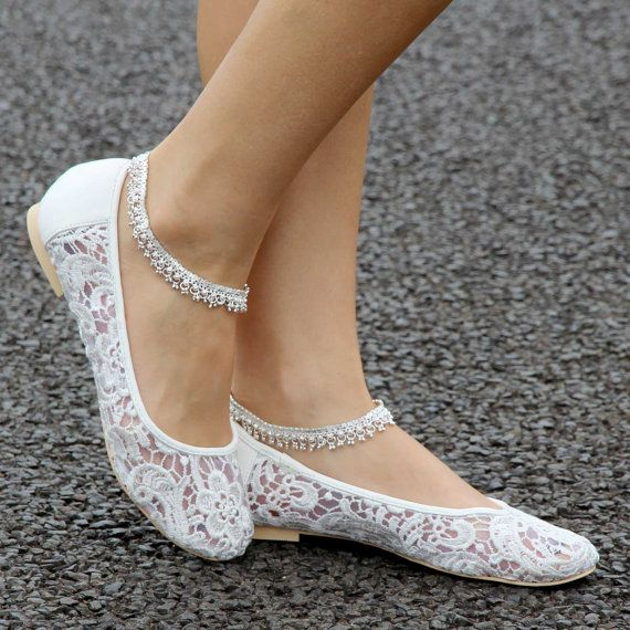 Ladies wedding ballet flat shoes with ivory lace flowers - Style ...