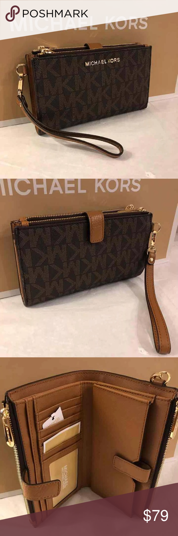 2ee6bb7baeab Michael Kors Double Zip Wallet Wristlet NWT Michael Kors Jet Set Travel  Double Zip Wristlet