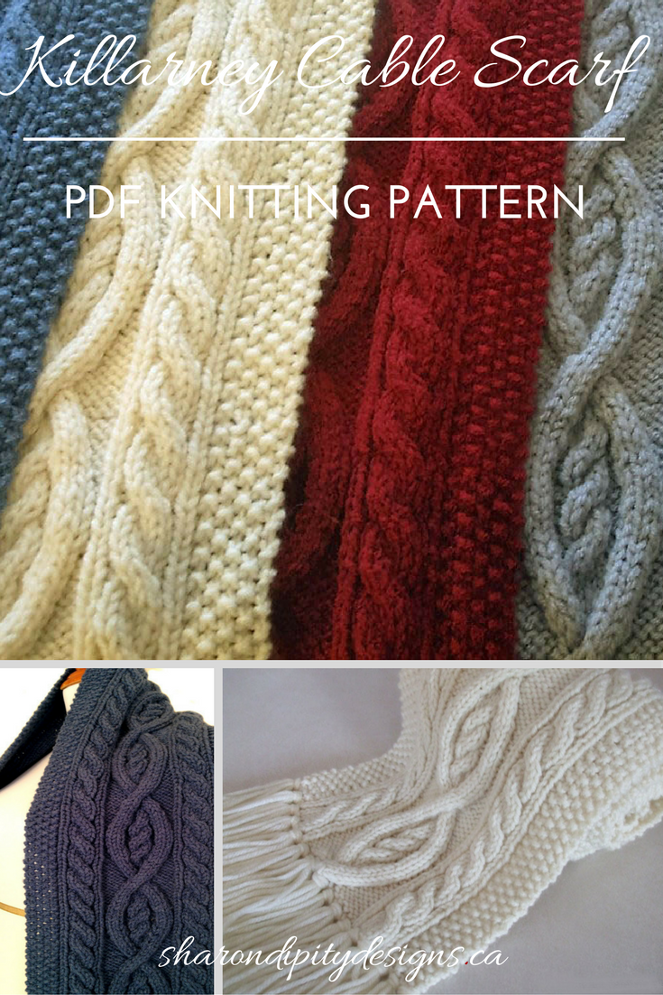 PDF Knitting Pattern. Cable Knit Scarf. Traditional Irish. Womens ...