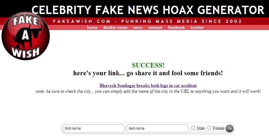 Timepass Celebrity Fake News Prank Story Generator Timepass