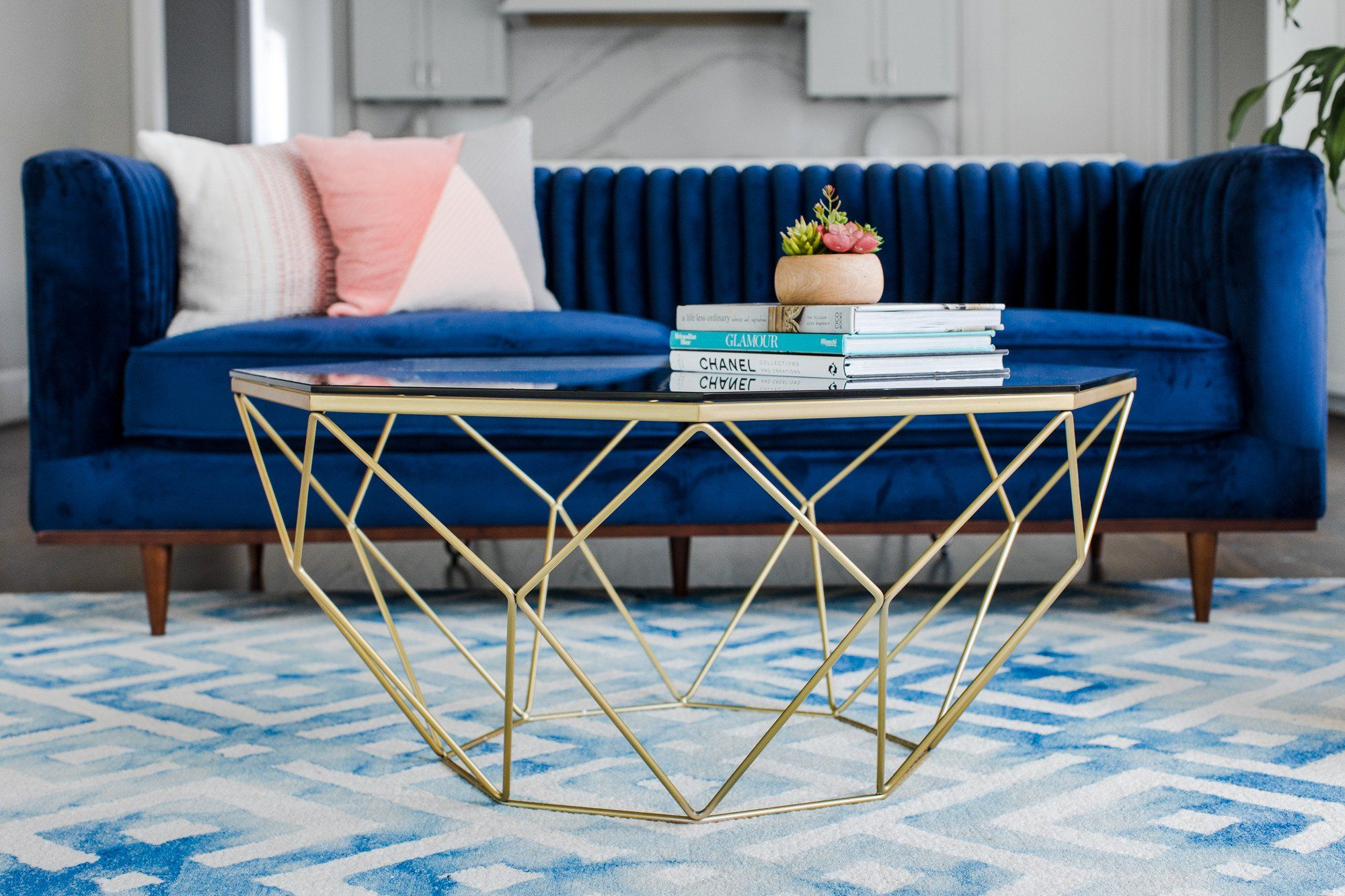 Le Beau Coffee Table Captivating From All Angles The Le Beau Coffee Table Is A Geometric Mast Coffee Table Blue And Gold Living Room Living Room Decor Modern [ 1333 x 2000 Pixel ]
