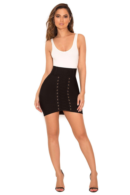 Clothing   Skirts    Orsina  Black Bandage Lace Up Mini Skirt ... 8a96262d0