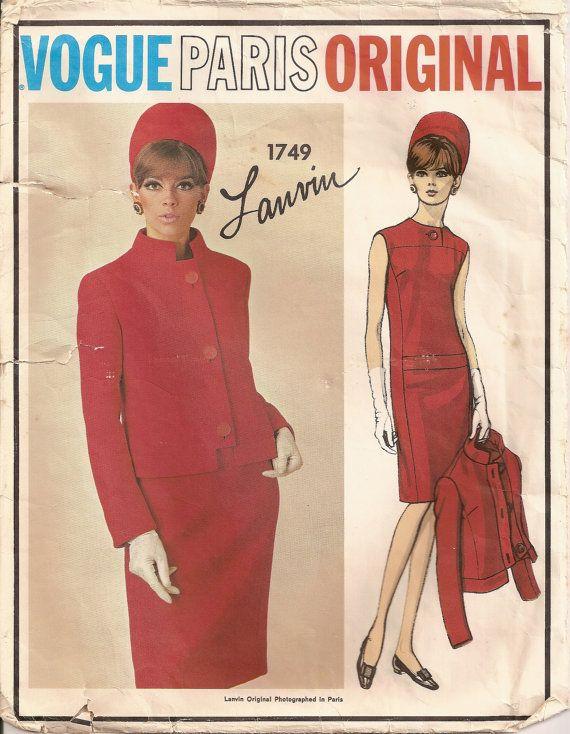 Vintage Vogue 1749 Sewing Pattern Vintage Lanvin Designer Sewing ...