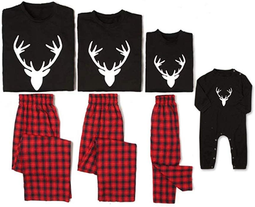 Yaffi Family Matching Christmas Pyjamas Set with Hat Festival Outfits Two Pieces Loungewear Pjs