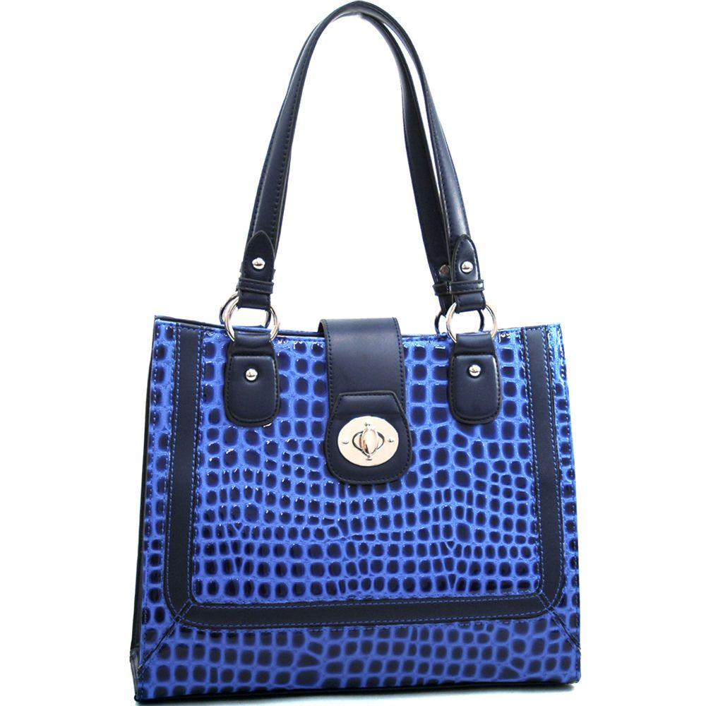 660ebeb7d18a Dasein Women s Boxy Patent Croco Leather Satchel Tote Shoulder Bag Purse