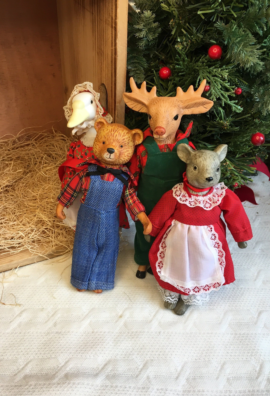 Vintage Porcelain Goose Moose Bear And Mouse Christmas Etsy Vintage Porcelain Vintage Christmas Christmas Ornaments