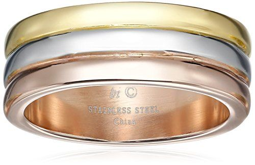 Lavari  Stainless Steel Ring with Gold and Rose Ion Plating