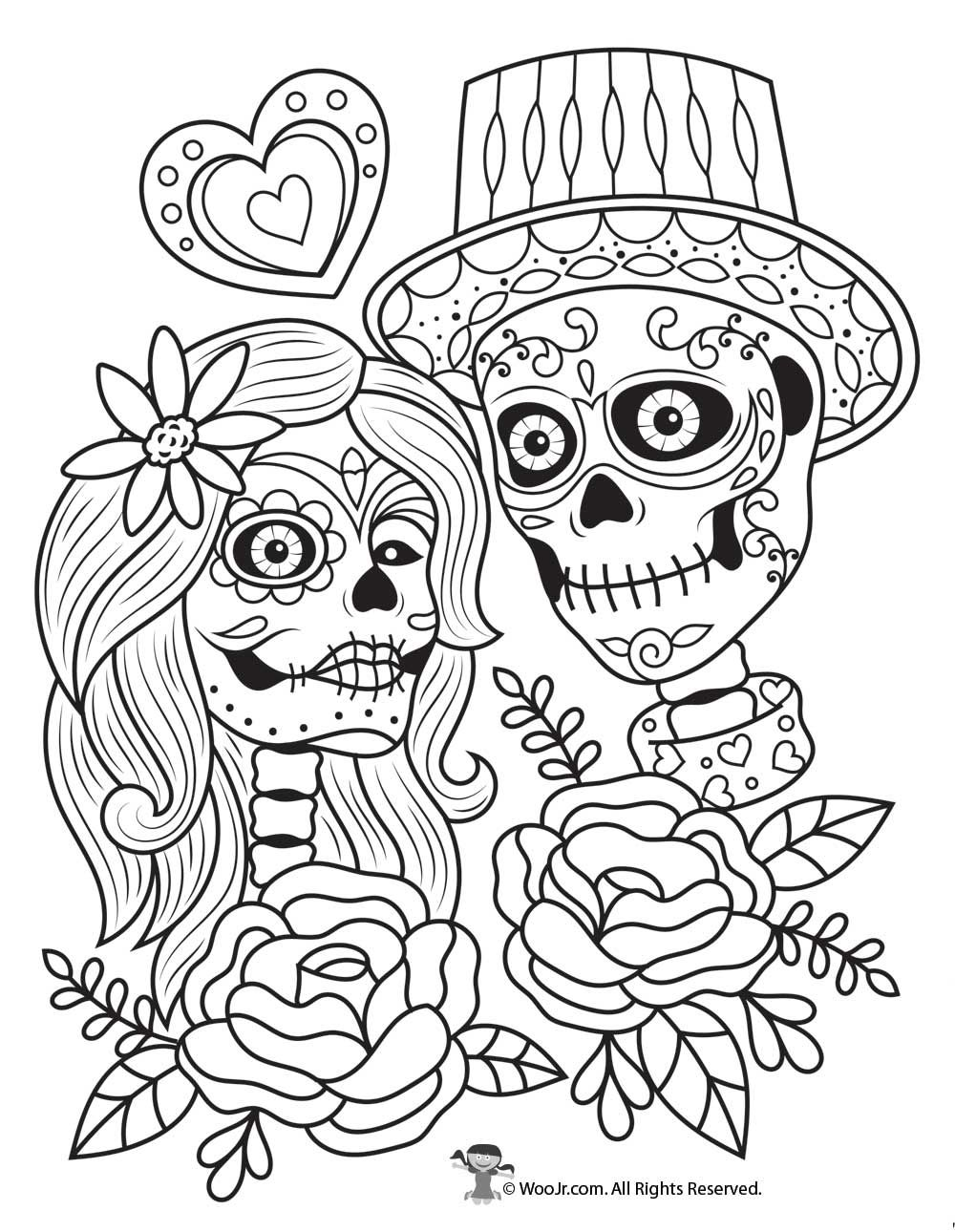 Day Of The Dead Couple Adult Coloring Free (With Images) Skull