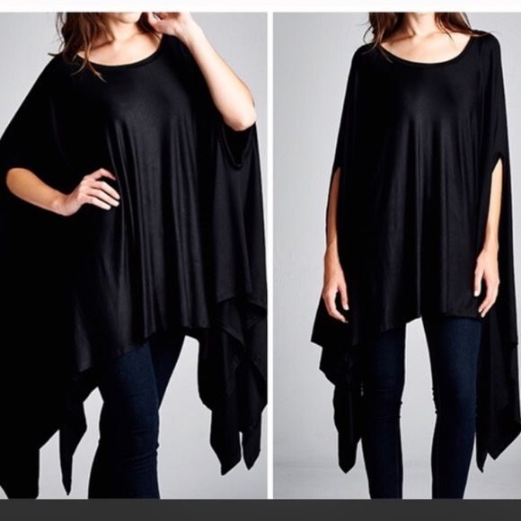 ️Oversized Poncho Tunic Olive and black available nwot best selling rayon and spandex blend ️oversized tunic with uneven hemline . Price is firm 10% off bundles one size fits all will fit S- XXXL Vivacouture Sweaters