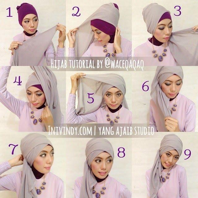 4 Tutorial Hijab Pesta Elegan Dan Mudah Hijab Tutorial Turban Hijab Head Scarf Styles