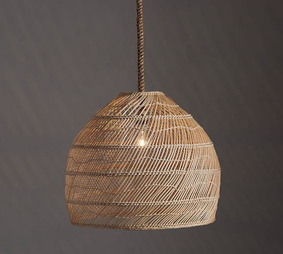 Flora oversized rattan pendant pottery barn 235diam x 30h woven of natural materials the flora rattan pendant adds softly diffused light to a room with its grand scale its a perfect choice for any space mozeypictures Images