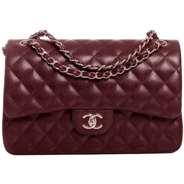 1b7ad60a2828 Pre-owned Chanel Burgundy Quilted Caviar Jumbo Classic Double Flap Bag  ($6,600) ❤ liked on Polyvore featuring bags, handbags, shoulder bags,  purses, ...