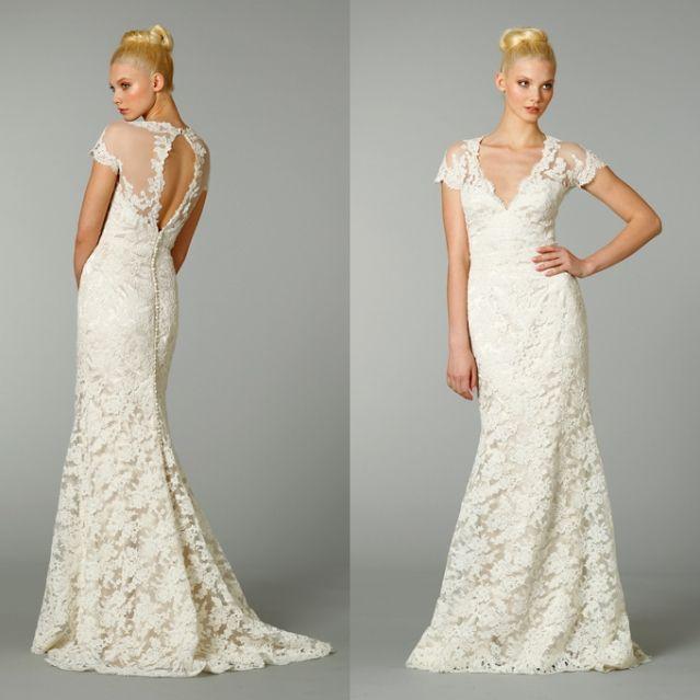 deep v-neckline vintage lace wedding dress with open back ...