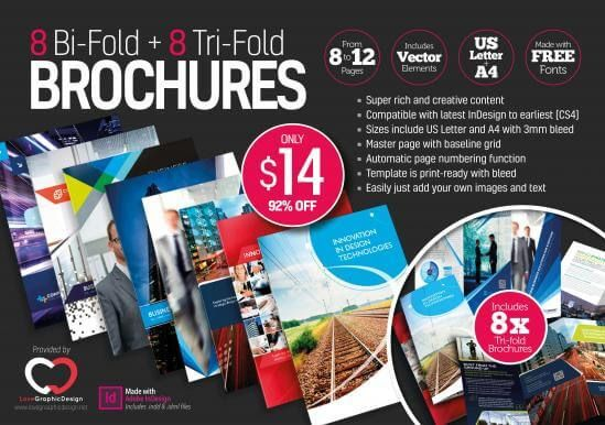 8 Print Ready Indesign Bi Fold Tri Fold Brochure Templates