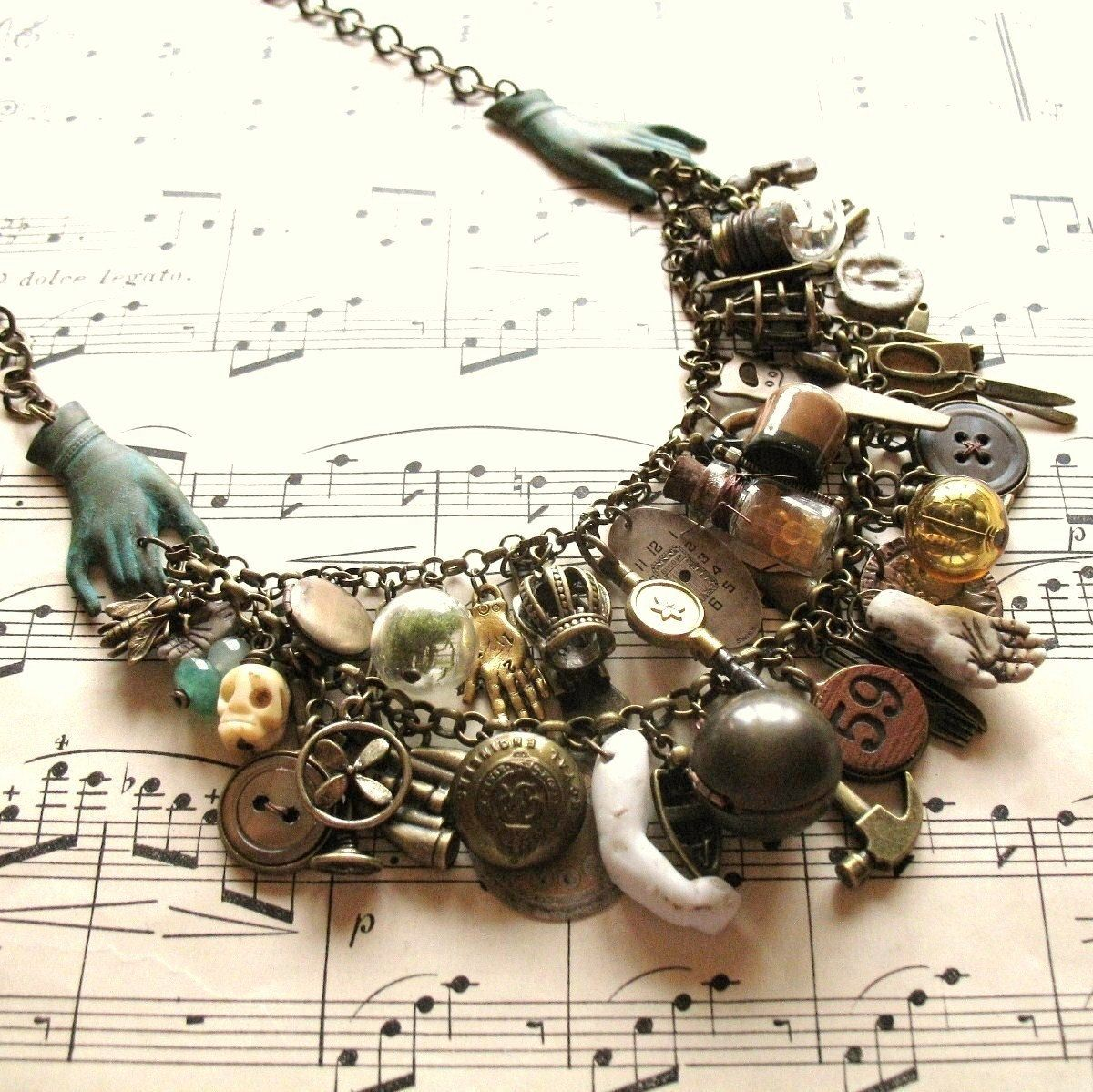 Romany Belle - Handmade Vintage Inspired Gypsy Bohemian Statement Charm Bib Necklace. $90.00, via Etsy.