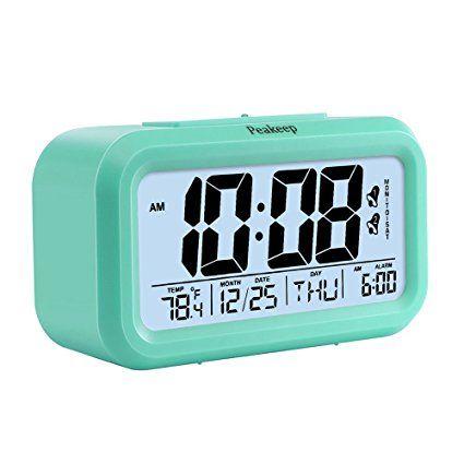 Peakeep Battery Digital Alarm Clock With 2 Alarms Snooze Optional Weekday Alarm And Sensor Light Mint Green Alarm Clock Clock Battery Operated Alarm Clock