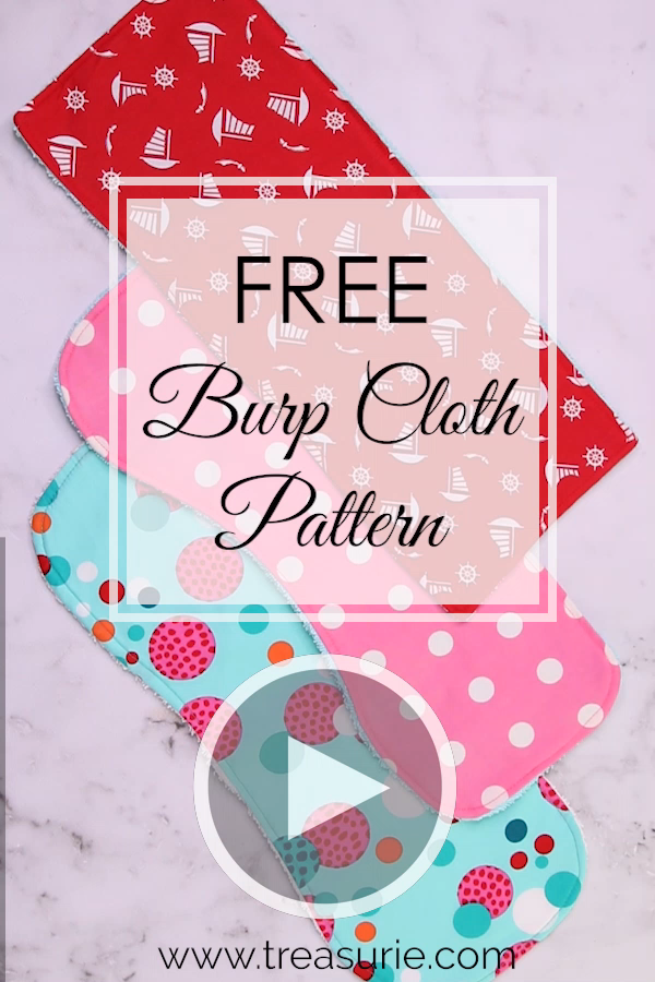 Free burp cloth pattern for 3 styles including rectangle, one sided contoured and two sided contoured. Visit my blog for the free printable pattern pieces and step by step instructions including photos and video. Even beginners can sew this easy project.