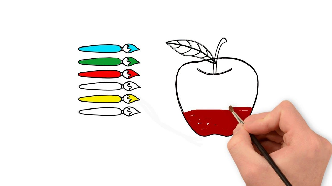 Apple Coloring Page How To Draw And Color A Red Apple Learn
